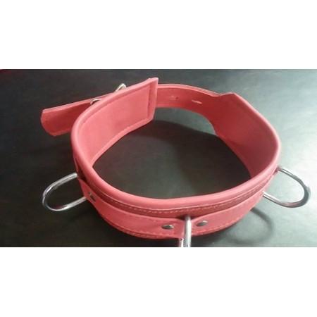 קולר מקצועי עבה מעור אדום איכותי עם 3 לולאות מתכת
