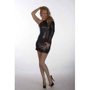 שמלת שחורה דמוי עור עם שרוול אחד