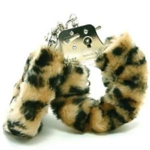 Love Cuffs אזיקי מתכת איכותיים עם פרווה מנומרת NMC