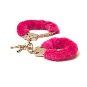 Love Cuffs אזיקי מתכת איכותיים עם פרווה בצבע ורוד פוקסיה NMC