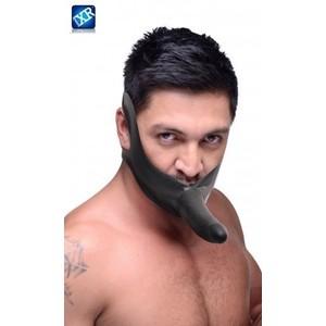 Face Fuk סטרפאון גאג לפה עם דילדו עשוי לטקס שחור עם רצועת גומי נמתחת Master Series