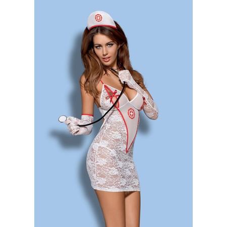 Medica Dress שמלה לבנה בסגנון תחפושת אחות שובבה Obsessive