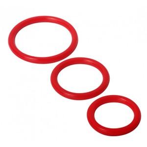Trinity סט 3 טבעות קוקרינג סיליקון אדום בגדלים שונים Trinity Vibes