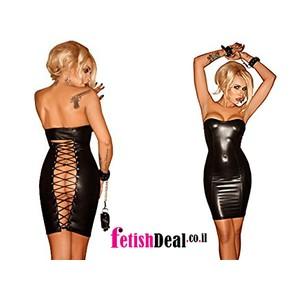 שמלת סטרפלס שחורה צמודה במראה רטוב עם פתח שובב מאחור NOIR