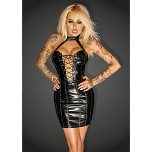 שמלת מיני שחורה צמודה עם מחשוף עמוק וקולר