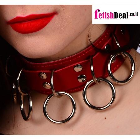 קולר עור עם 5 עיגולי מתכת לעבד או שפחה בצבע אדום