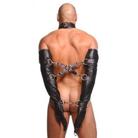 כפפות דמוי עור לקשירת ידיים מאחורי הגב