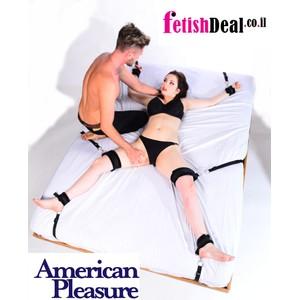 BondABed ערכת קשירה למיטה עם אזיקי ידיים רגליים וירכיים עם פרווה