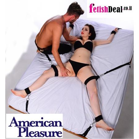 BondABed ערכת קשירה למיטה עם אזיקים לידיים רגליים וירכיים בצבע שחור