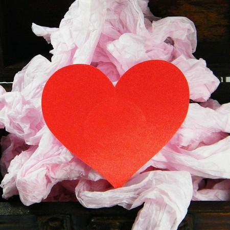 מדבקות לפטמות לב סאטן אדום