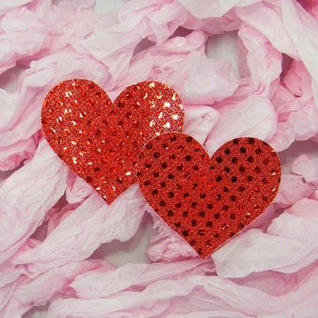 מדבקות פטמות לב אדום מבריק