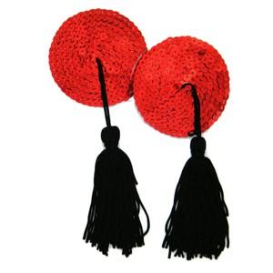כיסויי פטמות עגולים אדומים עם פייטים בסגנון בורלסק