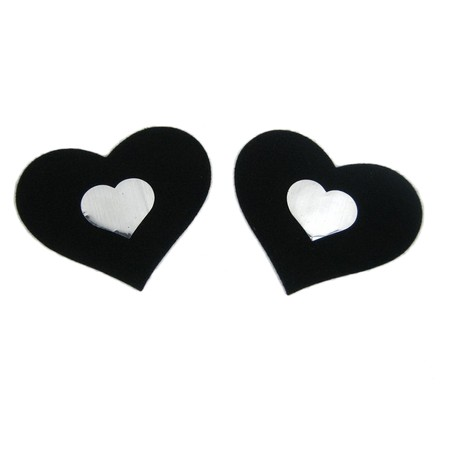 Black heart nipple stickers with small white heart