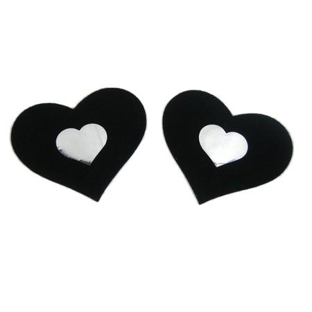 מדבקה לפטמות לב שחור עם לב קטן לבן
