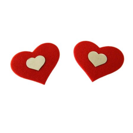 Red heart nipple stickers with small white heart