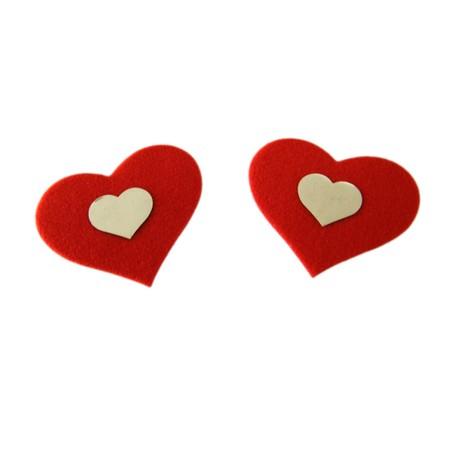 מדבקה לפטמות לב אדום עם לב לבן קטן