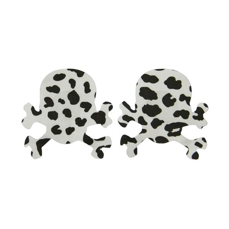 Nipple cover with skull and bones white-black