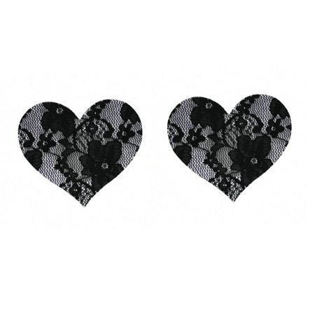 Floral black lace heart nipple covers