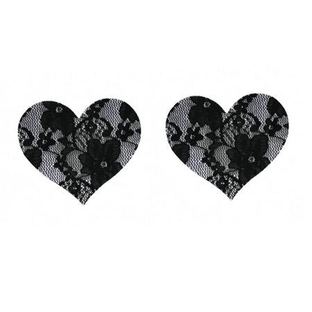 כיסוי פטמה לב תחרה שחורה פרחונית