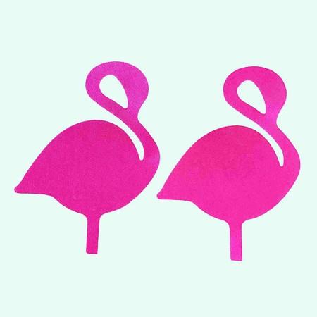 Pink flamingo nipple covers