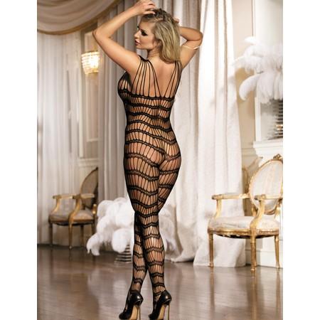 Black striped mesh garment - plus sizes