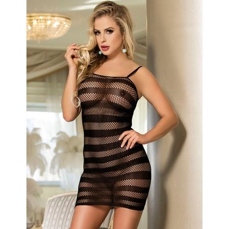 שמלת רשת שחורה פסים
