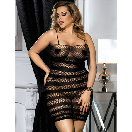 שמלת רשת שחורה פסים - מידות גדולות