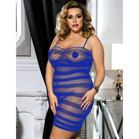 שמלת רשת כחולה פסים - מידות גדולות