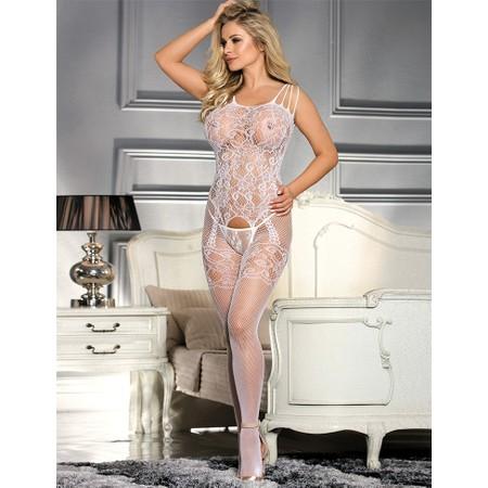 Floral white body stocking