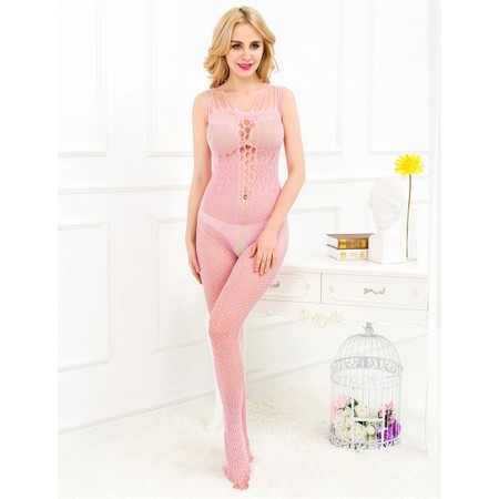 Floral pink bodystockings with front cleavage