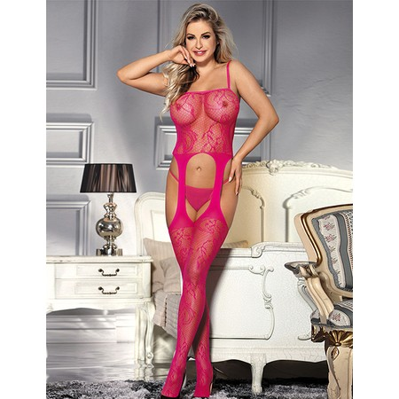 Pink crotchless bodystockings