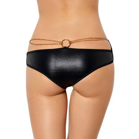 תחתון שחור דמוי עור עם שרשרת