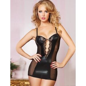 שמלה קצרה שחורה דמוי עור מחשוף עמוק שקופה בצדדים