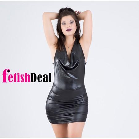 שמלה שחורה מבריקה דמוי עור