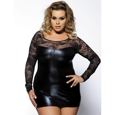שמלת דמוי עור קצרה עם שרוולי תחרה ארוכים - מידות גדולות