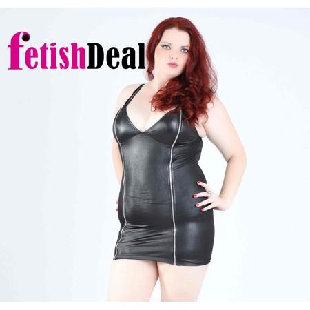 שמלת דמוי עור שחורה עם רוכסנים - מידות גדולות