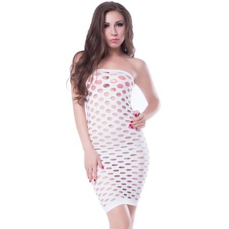 שמלת רשת סטרפלס לבנה