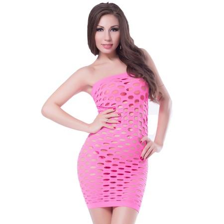 Pink strapless mesh dress