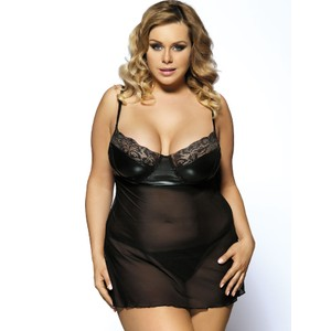 Transparent short dress with faux-leather bra - plus sizes