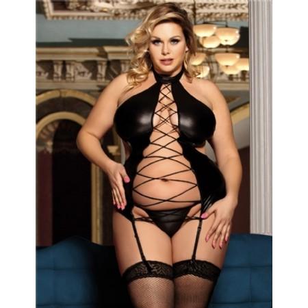 בגד שחור דמוי עור סקסי עם מחשוף קדמי - מידות גדולות