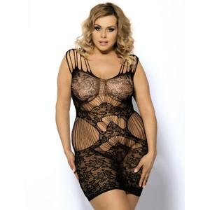 שמלת רשת שחורה עם דוגמה - מידות גדולות