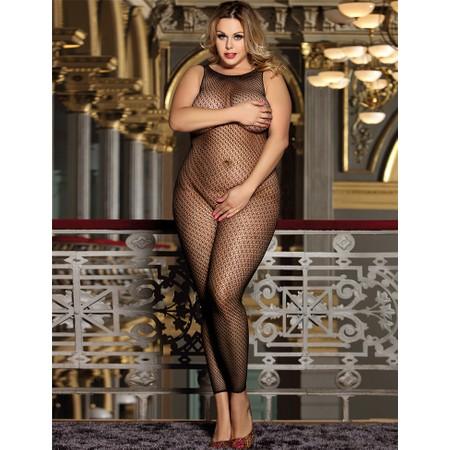 Black mesh body stockings- plus sizes