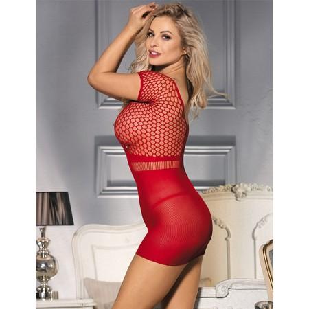 Sexy red mesh mini dress