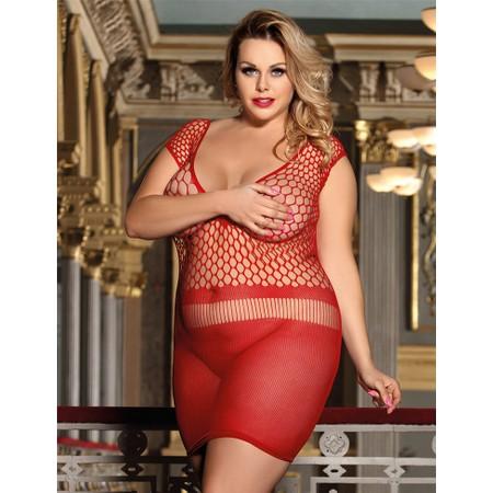שמלת מיני רשת אדומה סקסית - מידות גדולות