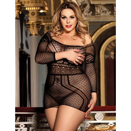 Black mesh dress with open back and sleeves - plus sizes