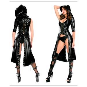 מעיל שחור מבריק דמוי מחוך