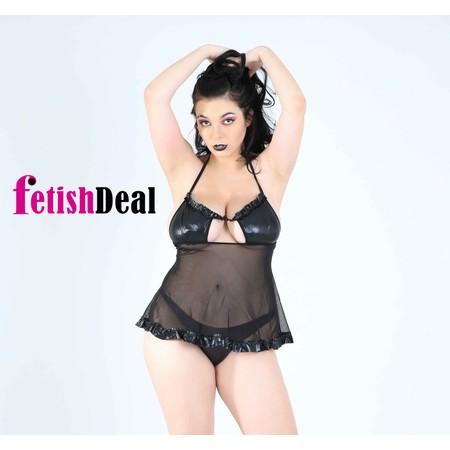 Shiny black babydoll and sexy black mesh