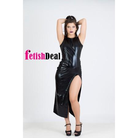 שמלה ארוכה דמוי עור עם שסע בצבע שחור
