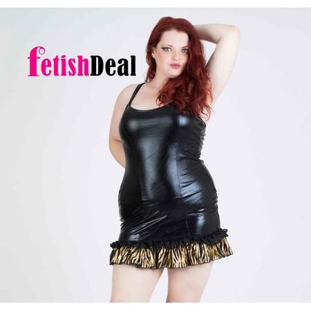 שמלה שחורה דמוי עור קצרה - מידות גדולות