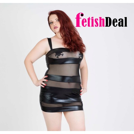 שמלה שחורה מבריקה עם פסים שקופים - מידות גדולות